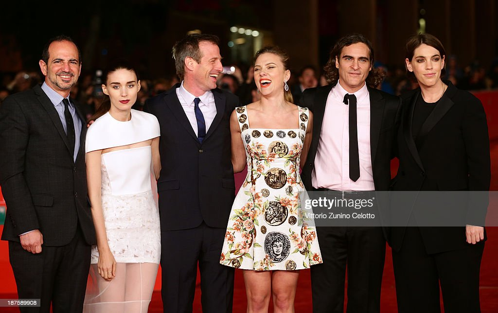 Producer Vincent Landay, actress Rooney Mara, director Spike Jonze, Scarlett Johansson, Joaquin Phoenix and producer Megan Ellison attend 'Her' Premiere during The 8th Rome Film Festival at Auditorium Parco Della Musica on November 10, 2013 in Rome, Italy.