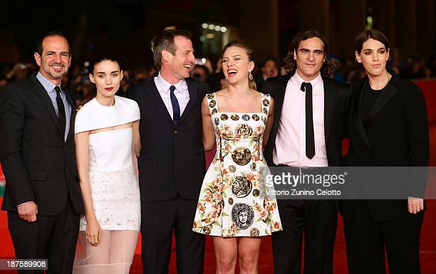Producer Vincent Landay actress Rooney Mara director Spike Jonze Scarlett Johansson Joaquin Phoenix and producer Megan Ellison attend 'Her' Premiere...