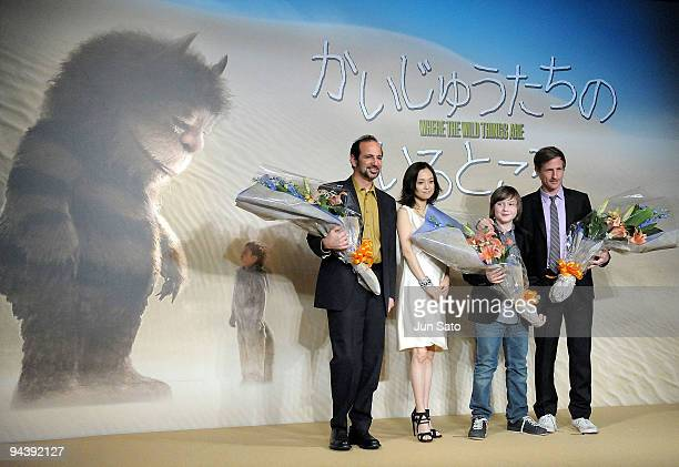 Producer Vincent Landy actress Hiromi Nagasaku actor Max Records and producer Spike Jonze attend 'Where The wild Things Are' press conference at The...