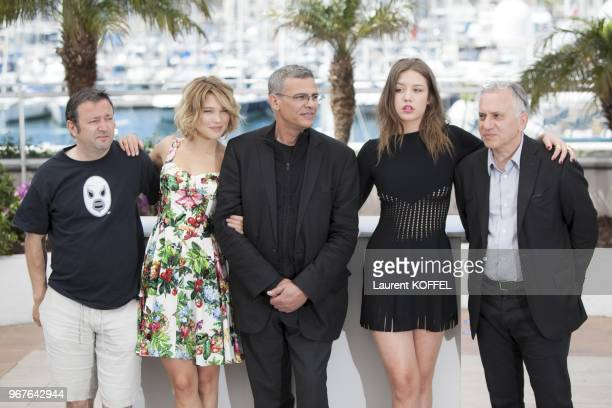 Producer Vincent Maraval Actress Lea Seydoux director Abdellatif Kechiche actress Adele Exarchopoulos and producer Brahim Chiqua attend the photocall...