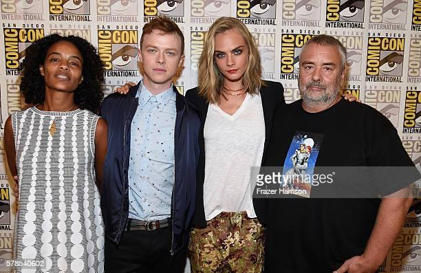 Producer Virginie Silla actors Dane DeHaan Cara Delevingne director Luc Besson attends the EuropaCorp press line during ComicCon International 2016...