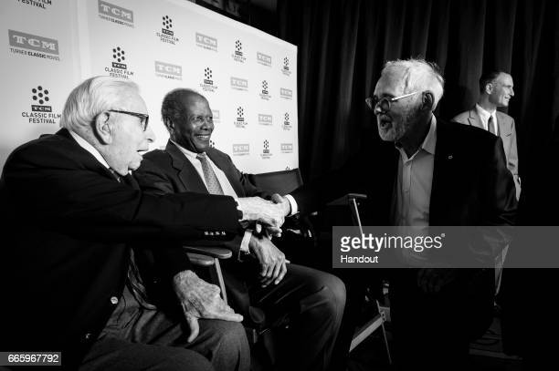 Producer Walter Mirisch actor Sidney Poitier and director Norman Jewison attend the 50th anniversary screening of 'In the Heat of the Night' during...
