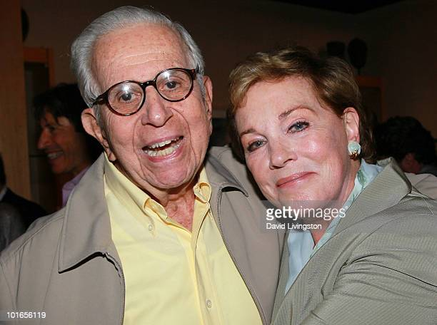 Producer Walter Mirisch and actress Julie Andrews attend Blake Edwards' art exhibit preview at Leslie Sacks Fine Art on June 5 2010 in Brentwood...