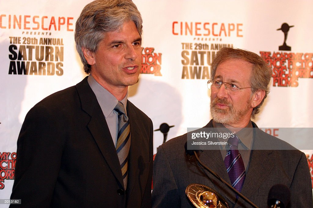 Producer Walter Parkes and director Steven Spielberg attend the 29th Annual Saturn Awards presented by Cinescape May 18, 2003 at the Renaissance Hollywood Hotel in Los Angeles, California.