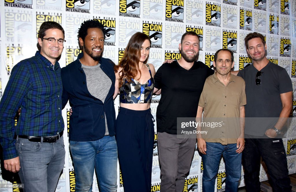 Producer Wes Tooke, actors Tory Kittles, Sarah Wayne Callies, writer/producer Ryan Condal, actors Peter Jacobson and Josh Holloway at the 'Colony' press line during Comic-Con International 2017 at Hilton Bayfront on July 20, 2017 in San Diego, California.