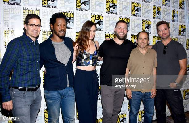 Producer Wes Tooke actors Tory Kittles Sarah Wayne Callies writer/producer Ryan Condal actors Peter Jacobson and Josh Holloway at the 'Colony' press...