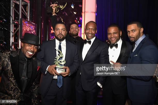 Producer Will Packer actorrapper Ice Cube with the Film of the Year Award for 'Straight Outta Compton' actor O'Shea Jackson Jr American Black Film...