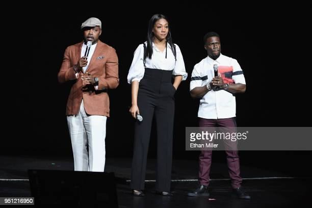Producer Will Packer actors Tiffany Haddish and Kevin Hart speak onstage during CinemaCon 2018 Universal Pictures Invites You to a Special...