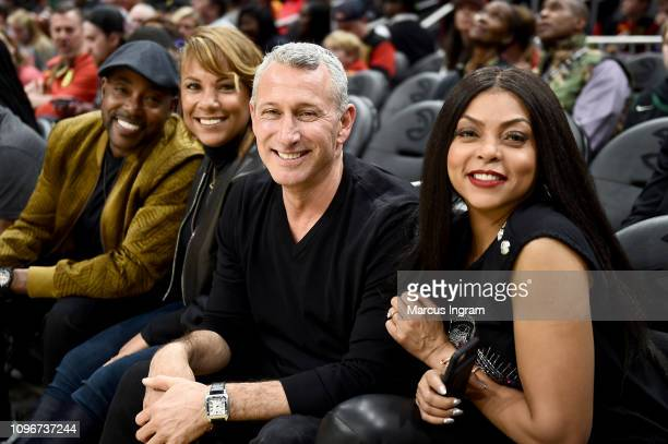 Producer Will Packer Heather Hayslett Packer Director Adam Shankman and Taraji P Henson attend Atlanta Hawks Vs Boston Celtics game in partnership...