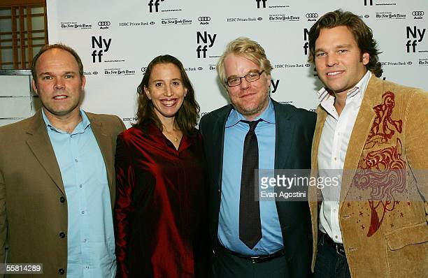 Producer William Vince producer Caroline Baron actor Philip Seymour Hoffman and producer Michael Ohoven attend the New York Film Festival premiere of...