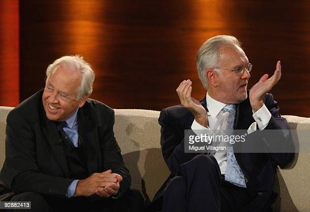 Producer Wolfgang Rademann and Entertainer Harald Schmidt attend the 'Wetten dass...?' show at the Volkswagenhalle on November 7, 2009 in...