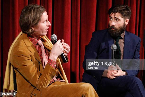 Producer writer and director Wes Anderson and writer and actor Jason Schwartzman on stage during The Academy of Motion Picture Arts Sciences Official...