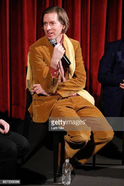 Producer writer and director Wes Anderson on stage during The Academy of Motion Picture Arts Sciences Official Academy Screening of Isle of Dogs at...