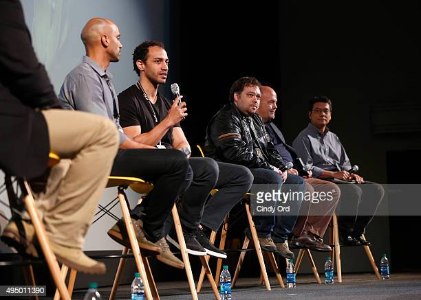 Producer writer Joshua Grier Director Mike Grier of 'Dust' Producer writer Dax Phelan Producer Jon Anderson and Producer James Su of 'Jasmine' are...