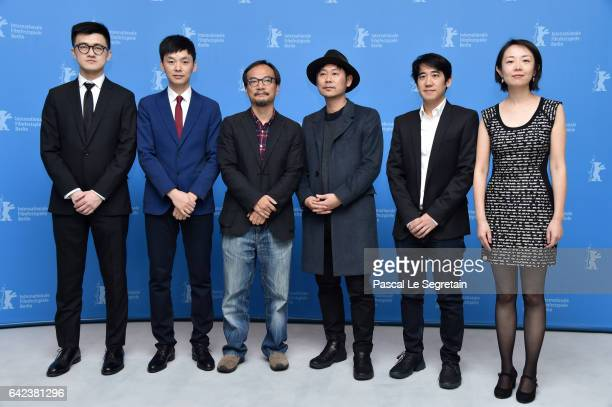 Producer Yang Cheng film director Jian Liu a guest and composer David Liang attend the 'Have a Nice Day' photo call during the 67th Berlinale...