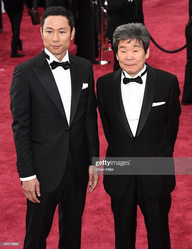 Producer Yoshiaki Nishimura (L) and Writer Director Isao Takahata attend the 87th Annual Academy Awards at Hollywood & Highland Center on February 22, 2015 in Hollywood, California.