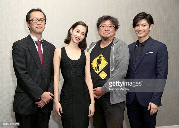 Producer Yoshihiro Sato actress Kiko Mizuhara director Shinji Higuchi and actor Haruma Miura attend the ATTACK ON TITAN World Premiere press...