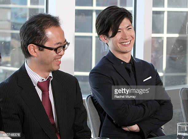 Producer Yoshihiro Sato and actor Haruma Miura attend the ATTACK ON TITAN World Premiere press conference on July 14 2015 in Hollywood California