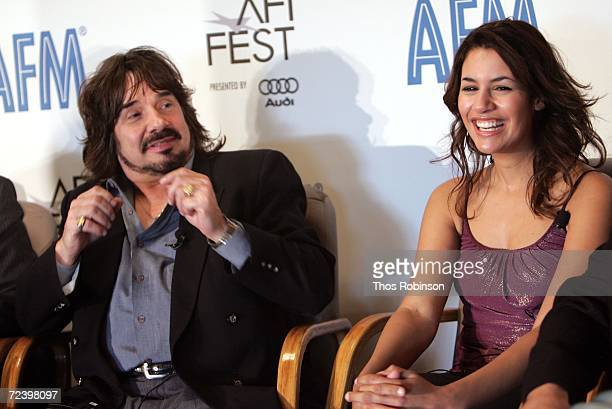 Producer/Actor Bertie Higgins and actress Kristina Morales speak during The Wrath press conference at the American Film Market held in the Loews...