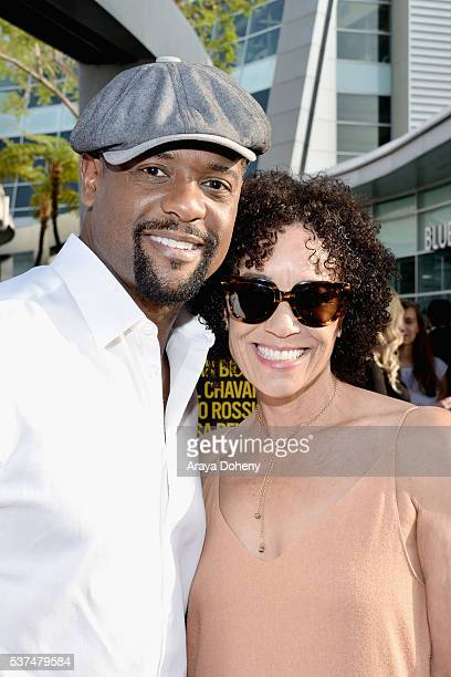 "Producer/actor Blair Underwood and Los Angeles Film Festival director Stephanie Allain attend the premiere of ""Lowriders"" during opening night of the..."