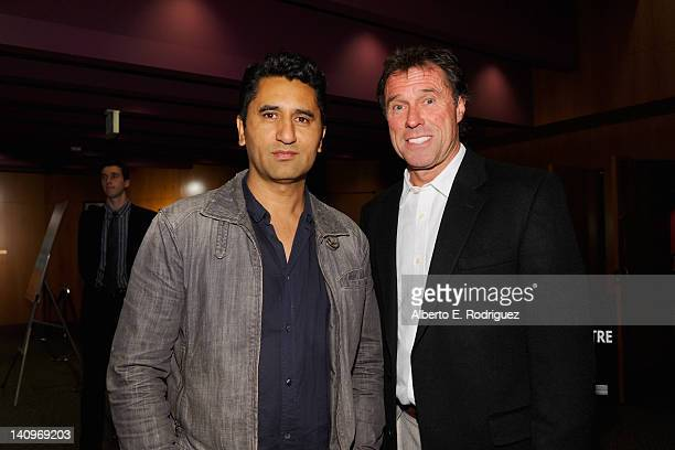 Producer/actor Cliff Curtis and marathon runner Rod Dixon attend a special advance screening of Boy at DGA Theater on March 8 2012 in Los Angeles...
