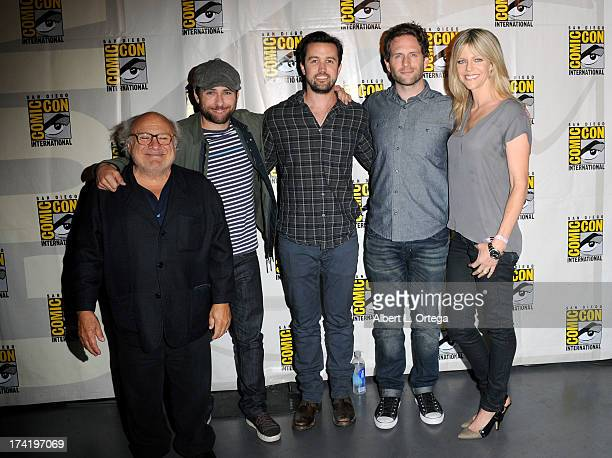 """Producer/actor Danny DeVito and actors Charlie Day, Rob McElhenney, Glenn Howerton and Kaitlin Olson attend the """"It's Always Sunny In Philadelphia""""..."""