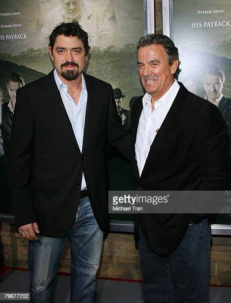 Producer/actor Eric Braeden and Christian Gudegast arrives at the Los Angeles Premiere of The Man Who Came Back held at the Aero Theater on February...
