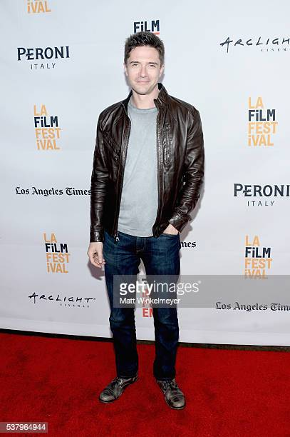 Producer/actor Topher Grace attends the premiere of 'Opening Night' during the 2016 Los Angeles Film Festival at Arclight Cinemas Culver City on June...
