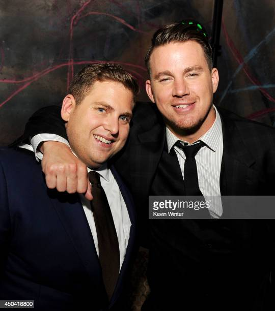 Producer/actors Jonah Hill and Channing Tatum pose at the after party for the premiere of Columbia Pictures' 22 Jump Street at the W Hotel on June 10...