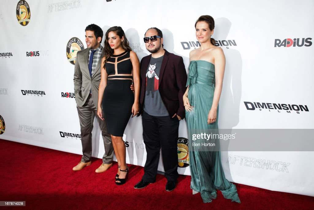 Producer/actor/writer Eli Roth, actress Lorenza Izzo, director Nicolas Lopez, and Andrea Osvart (L,R) attend the premiere of 'Aftershock' at Mann Chinese 6 on May 1, 2013 in Los Angeles, California.