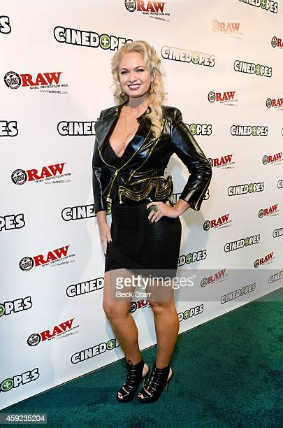 Producer/actress Angeline Rose Troy arrives at 'Cinedopes' webisode series Los Angeles premiere at Busby's East on November 18 2014 in Los Angeles...