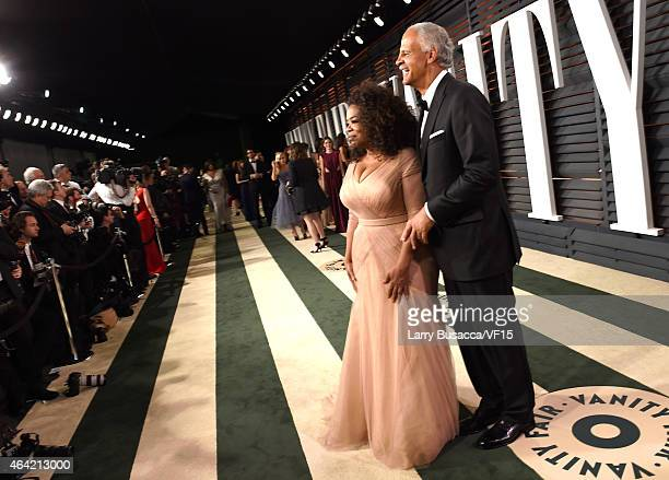 Producer/actress Oprah Winfrey and businessman Stedman Graham attend the 2015 Vanity Fair Oscar Party hosted by Graydon Carter at the Wallis...