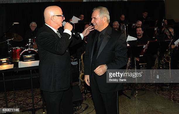 Producer/arranger Charles Calello and Paul Shaffer attend the Charles Calello Orchestra The Hit Man at Stoney Hill Inn on December 29 2016 in...