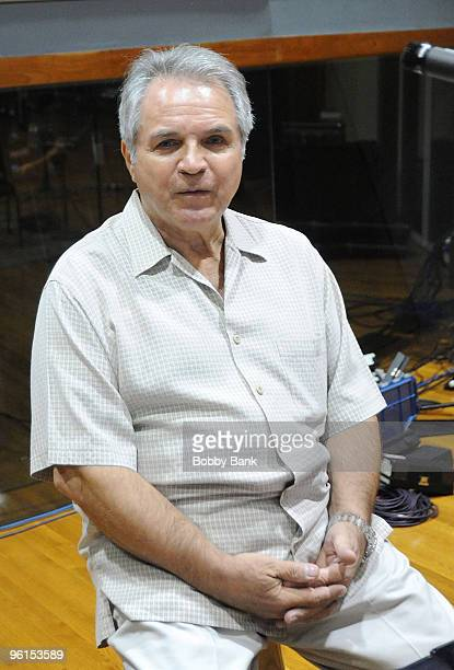 MIAMI APRIL 02 Producer/Arranger Charlie Calello records Engelbert Humperdinck at a private recording session at the Hit Factory on April 2 2009 in...
