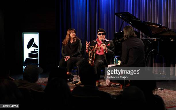 Producer/arranger Sarah Morrow and musician Dr John speak with Vice President of the GRAMMY Museum Scott Goldman at An Evening With Dr John at The...