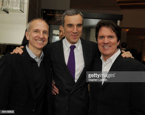 """Producer/choreographer John DeLuca, actor Daniel Day-Lewis, and director Rob Marshall attend a luncheon for The Weinstein Company's """"NINE"""" at Per Se..."""