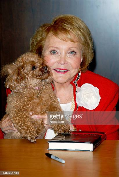 Producer/cocreator of Young the Restless Lee Phillip Bell with her dog Joy attends The Young the Restless Life Of William J Bell Book Signing Event...