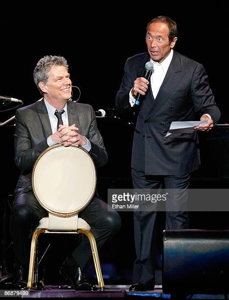 Producer/composer David Foster and singer Paul Anka perform during the Hit Man David Foster and Friends concert at the Mandalay Bay Events Center May...