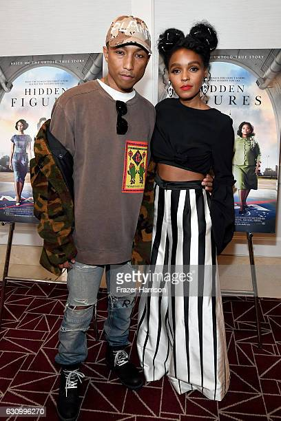 """Producer/Composer Pharrell Williams and actress Janelle Monae attend the Screening and Q&A for 20th Century Fox's """"Hidden Figures"""" at The London West..."""