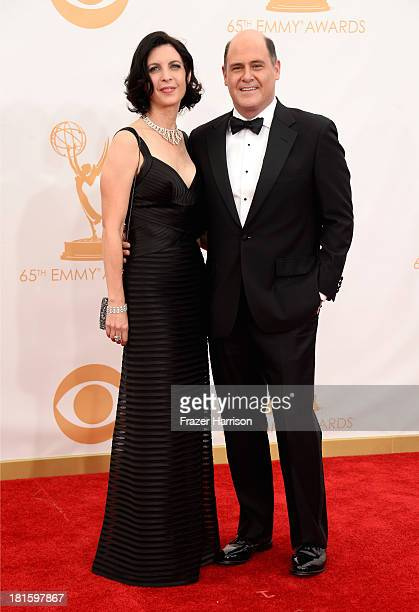 Producer/creator Matt Weiner and Linda Brettler arrive at the 65th Annual Primetime Emmy Awards held at Nokia Theatre LA Live on September 22 2013 in...