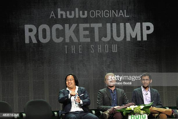 Producer/Creator/Writer Freddie Wong Showrunner Ben Waller and writer Anthony Burch speak onstage during the panel for RocketJump The Show at the...