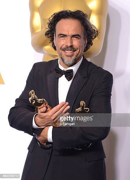 Producer/director Alejandro G Inarritu winner of Best Original Screenplay Best Director and Best Motion Picture for 'Birdman' poses in the press room...