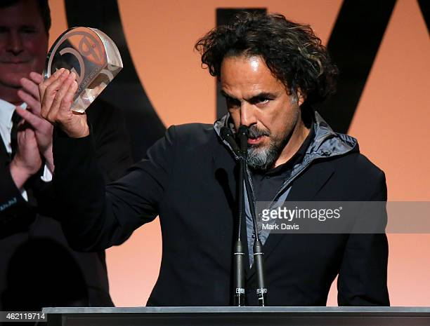 Producer/director Alejandro Gonzalez Inarritu accepts the Outstanding Producer of Theatrical Motion Pictures award for 'Birdman' onstage during the...