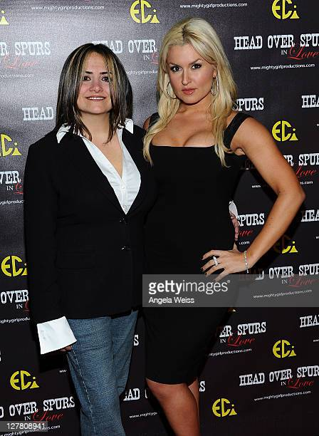 Producer/director Ana Zins and actress Mara Marini arrive at the world premiere of 'Head Over Spurs In Love' at Majestic Crest Theatre on March 24,...