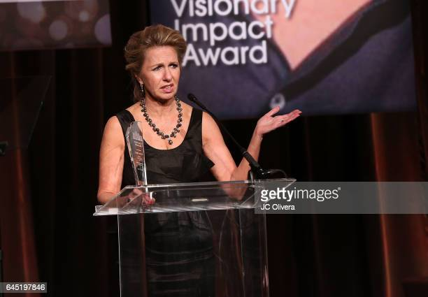 Producer/director Catherine Tambini speaks onstage during the 20th Annual National Hispanic Media Coalition Impact Awards Gala at Regent Beverly...
