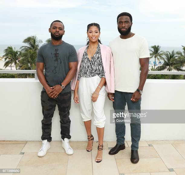 Producer/director Gerard McMurray actress Lex Scott Davis and Y'lan Noel pose for a portrait during the 22nd Annual American Black Film Festival at...