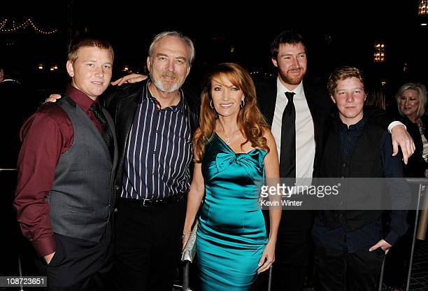 Producer/director James Keach and his wife executive producer/actress Jane Seymour their sons Kris Keach Sean Flynn and Johnny Keach arrive at the...