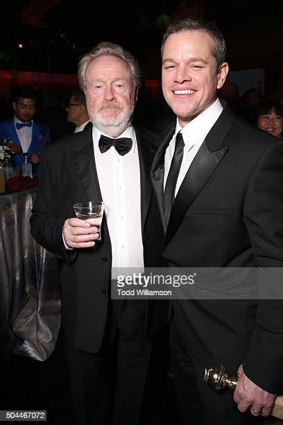 Producer/director Ridley Scott cowinner of the Best Motion Picture Musical or Comedy award for 'The Martian' and actor Matt Damon winner of the Best...