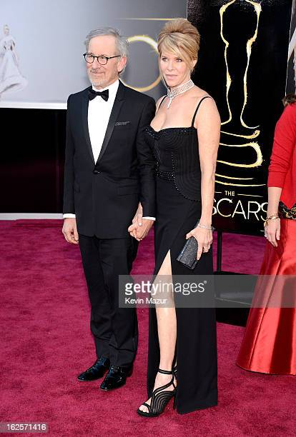 Producer/director Steven Spielberg and actress Kate Capshaw arrive at the Oscars held at Hollywood Highland Center on February 24 2013 in Hollywood...