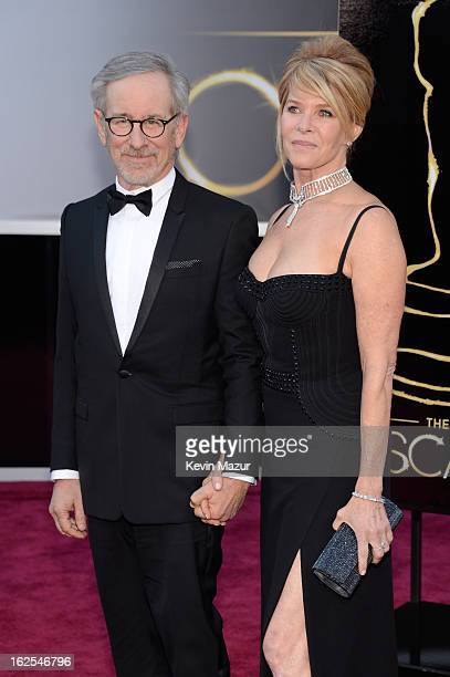 Producer/director Steven Spielberg and actress Kate Capshaw arrives at the Oscars at Hollywood Highland Center on February 24 2013 in Hollywood...